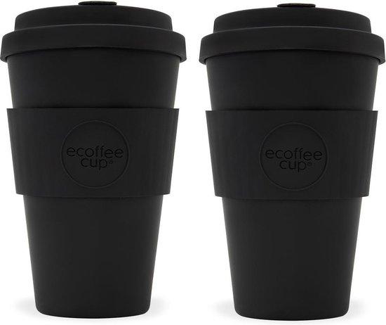 Ecoffee Cup Kerr & Napier Bamboe Beker - 400 ml - met Zwart Siliconen - Set van 2