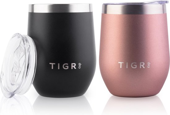 TIGR Koffiebeker - Set van 2 - Thermosbeker - 350ML - Zwart / Rose Goud